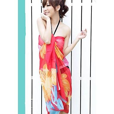 c0459715 kvinners mote multi print chiffon sjal skjerf sarong bikini badetøy  badedrakt strand cover-up