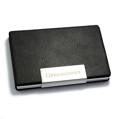 Μαύρο - Θήκες Επαγγελματικών Καρτών - Εξατομικευμένο δώρο - από Αλουμίνιο / PU Δέρμα