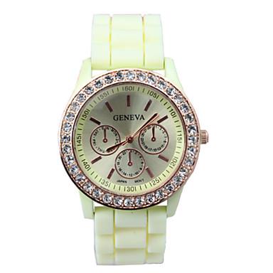 Damen Quartz Armbanduhr Modisch Silikon Band Freizeit Schwarz