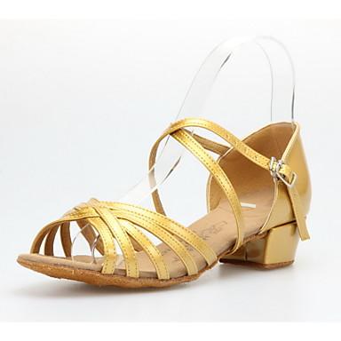 Women's/Kids' Dance Shoes Latin/Ballroom Leatherette Low Heel Gold/Gray