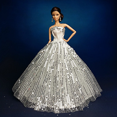 Wedding dresses for barbie doll silver dresses for girl 39 s for Barbie wedding dresses for sale