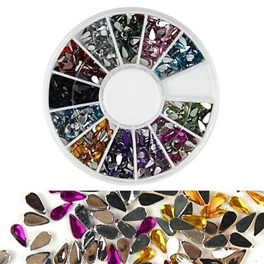 600pcs 12 renk damla şeklindeki elmas tırnak sanat dekorasyon