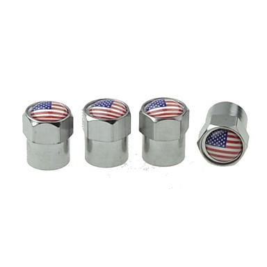 Luxury  Car Tire National Flag  Copper Valves Decoration Cap (USA 4 Pieces Per Pack)