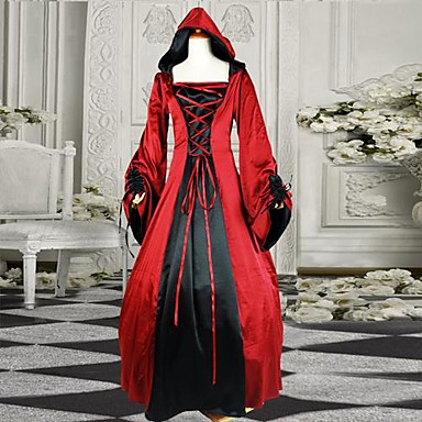 Medieval Victorian Costume Women's One Piece Dress Vintage Cosplay Cotton Long Sleeves