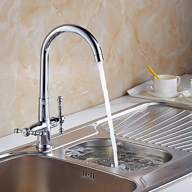 Contemporary Tall/­High Arc Deck Mounted Ceramic Valve One Hole Two Handles One Hole for  Chrome , Kitchen faucet