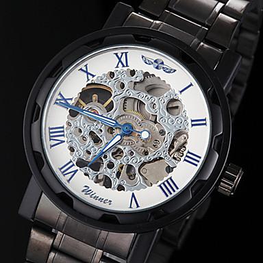 WINNER Муж. Часы со скелетом / Механические часы С гравировкой Нержавеющая сталь Группа Черный / Механические, с ручным заводом