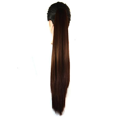 22 Inch Long Straight Clip Horsetail Ponytails (Brown Black)