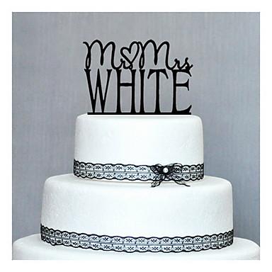 Cake Topper Personalized Hard plastic Wedding / Anniversary / Birthday Black Classic Theme 1 PVC Bag