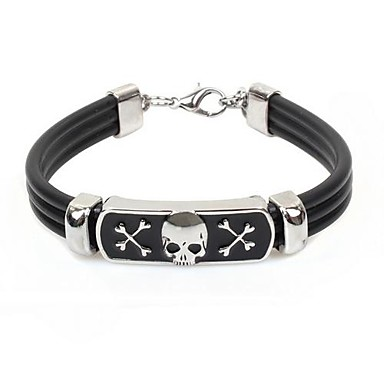 Tina -- Korean Fashion Men's Alloy Accessory Leather Bracelet in Party