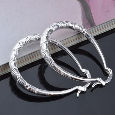 Vidali Küpeler Circle Shape Geometric Shape Gümüş Mücevher Için 2pcs