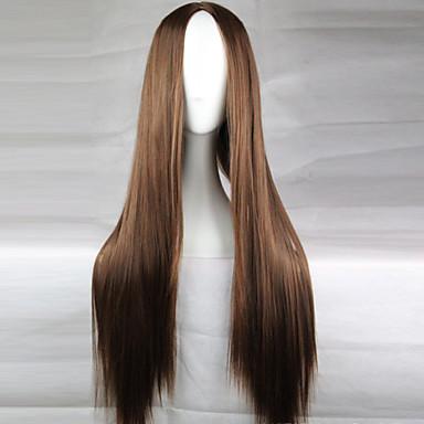 povoljno Perike i ekstenzije-Sintetičke perike Ravan kroj Stil Asimetrična frizura Capless Perika Tamno smeđa Sintentička kosa 28 inch Žene Prirodna linija za kosu Srednji dio Smeđa Perika Dug