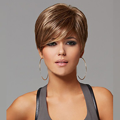Synthetic Wig Straight With Bangs Synthetic Hair Side Part Brown Wig Women's Short Natural Wigs Capless