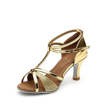 Προσαρμόσιμα - Λατινικοί - Παπούτσια Χορού - με Προσαρμοσμένο τακούνι - από Σατέν/Δερματίνη/Αστραφτερό Γκλίτερ - για Γυναικεία