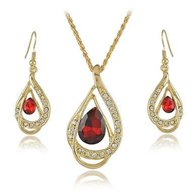 18K Yellow Gold Filled Ruby Blue Clear Austrian Crystal Pendant Necklace Jewelry Sets (More Colors)