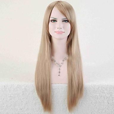 Syntetiske parykker Rett Asymmetrisk frisyre Syntetisk hår Naturlig hårlinje Gull / Blond Parykk Dame Lang Lokkløs