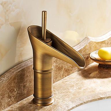 Geleneksel Tek Gövdeli Seramik Vana Tek Delik Tek Kolu Bir Delik Antik Pirinç, Banyo Lavabo Bataryası