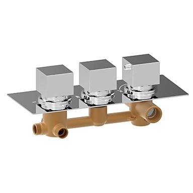 Hedendaagse Muurbevestigd Thermostatisch Messing ventiel Drie handgrepen drie gaten Chroom, Douchekraan