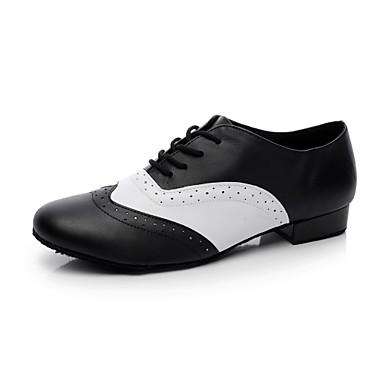 baratos Shall We® Sapatos de Dança-Homens Sapatos de Dança Couro Dança de Salão / Sapatos de Swing Salto Sem Salto Não Personalizável Preto e Branco / EU43