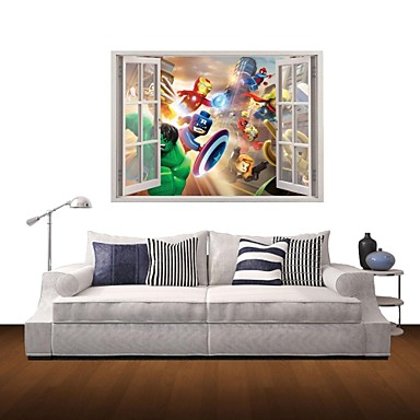 카툰 풍경 사람들 벽 스티커 3D 월 스티커 데코레이티브 월 스티커 자료 이동가능 홈 장식 벽 데칼
