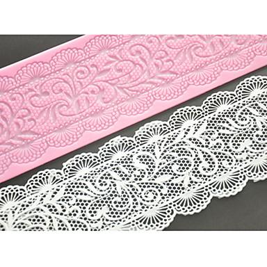 four-c kant cakevorm siliconen kant mat decoratie pad voor cake bakken, siliconen mat fondant taart tools kleur roze