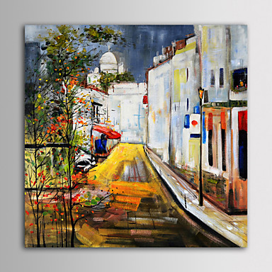 IARTS Oil Painting Modern Landscape  Alley Road European Construction Hand Painted Canvas with Stretched Frame