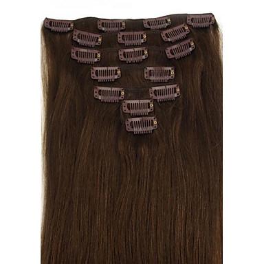 Klips İçeri/Dışarı İnsan Saç Uzantıları Düz Brezilya Saçı Gerçek Saç Düz 14 inç 18 inç 20 inç 22 inç