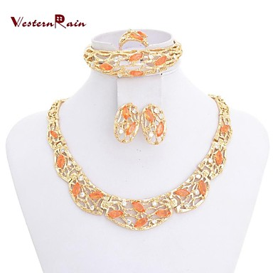 WesternrainGold Plated Jewelry Sets African Gold Gorgeous Necklace,Wedding Jewelry Fashion Necklaces For Women