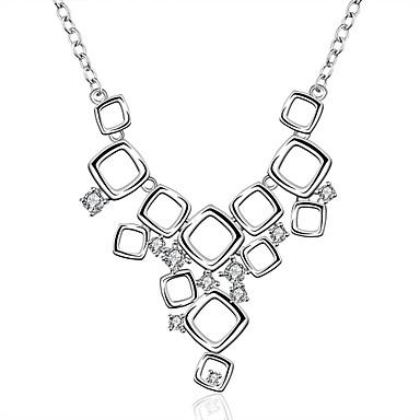 Damen Halsketten Anhängerketten Statement Ketten Anhänger Sterling Silber Zirkon Kubikzirkonia Edelstein Modisch Weiß SchmuckHochzeit