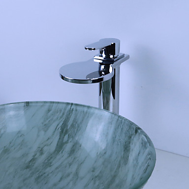 Çağdaş Lavabo Teknesi Şelale Seramik Vana Tek Delik Tek Kolu Bir Delik Krom, Banyo Lavabo Bataryası
