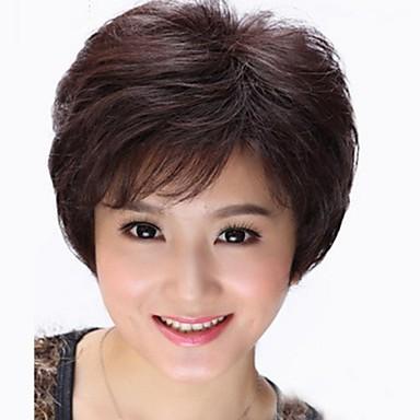 Hot Middle-Aged Black Short Straight Wig Natural Human Hair Wig 30%