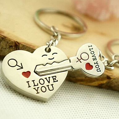 Keychain Silver Alloy Lovers, Love For Daily Wear