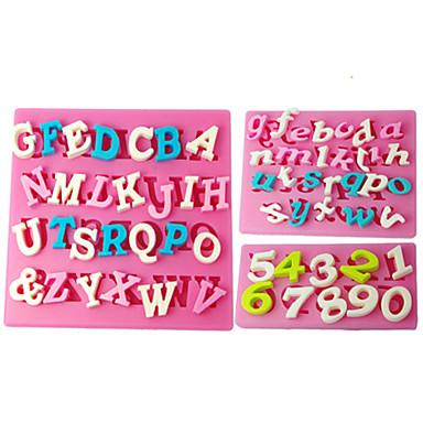Dört-c silikon kek kalıpları sayı fondan kalıpları, fondan dekorasyon araçları renk pembe 3pcs / set malzemeleri