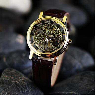 baratos Relógios Homem-Homens Relógio Esqueleto Relógio de Pulso relógio mecânico Mecânico - de dar corda manualmente Couro Marrom Gravação Oca Analógico Amuleto - Preto Prata Dourado