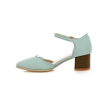 Γυναικείο Παπούτσια Δερματίνη Άνοιξη Καλοκαίρι Φθινόπωρο Χειμώνας Κοντόχοντρο Τακούνι Για Φόρεμα Μαύρο Λευκό Ανοιχτό μπλε