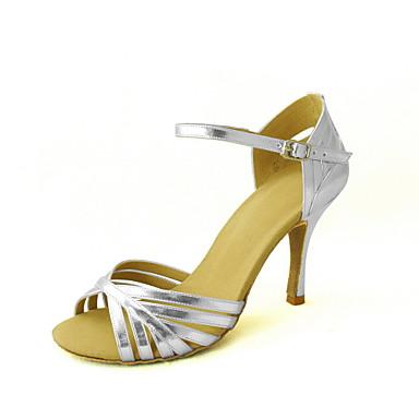 Women's Latin Shoes / Salsa Shoes Leatherette Sandal Buckle Customized Heel Customizable Dance Shoes Silver / Blue / Gold
