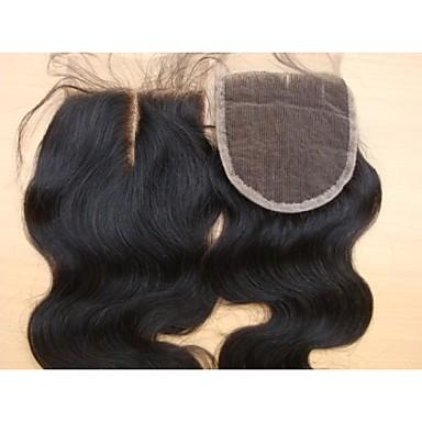 hesapli Kapatma & Ön Taraf-PANSY İnsan Saç Uzantıları Vücut Dalgası Gerçek Saç Düz Brezilya Saçı 10 inç Kahverengi Kadın's Doğal Siyah
