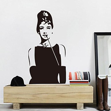 Removable Romantic Audrey Hepburn Bedroom/Living Room Wall Sticker