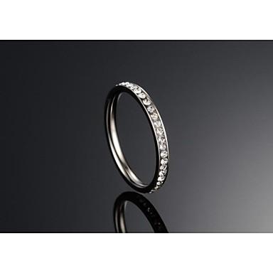 Fashion Crystal Women's Silver Titanium Steel Band Rings(1 Pc)