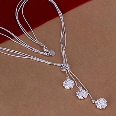 Kadın's Uçlu Kolyeler - Som Gümüş Güller, Çiçek Kolyeler 1pc Uyumluluk Düğün, Parti, Günlük