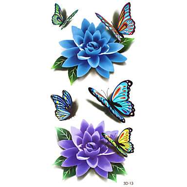 5Pcs 3D Waterproof Color Flowers And Butterflies  Pattern Tattoo Stickers