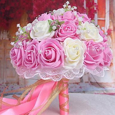 çiçek, hafif pembe ve beyaz tutan 30 pe simülasyon gül düğün buket düğün gelin bir buket