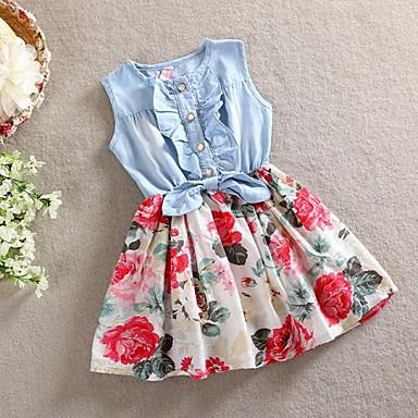 Kinder Mädchen Süß Festtage Blumen Schleife Ärmellos Kleid / Baumwolle