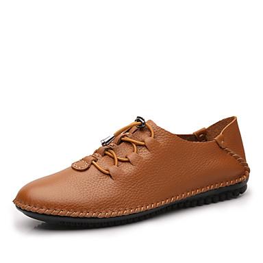 Homens Sapatos formais Pele Napa Outono / Inverno Oxfords Branco / Preto / Castanho Claro / Festas & Noite