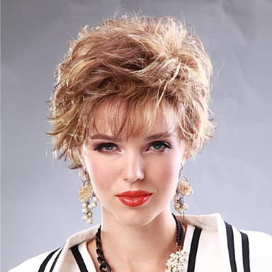 The European and American Fashion Lady High Quality Synthetic Natural Curved Short Blond Hair