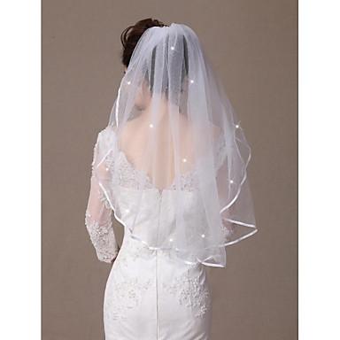 Eénlaags Lintrand Rand met sierstenen Bruidssluiers Elleboogsluiers Met Verspreide kristallen stijl 31,5 in (80cm) Tule