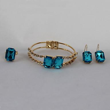 Damen vergoldet Schmuck-Set Haken / Ohrringe / Armband - Luxus / Modisch Blau Schmuckset Für Party / Geburtstag / Verlobung