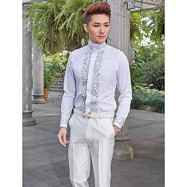 mandalina boyun uzun kollu pamuklu / polyester desenli takım elbiseli beyaz gömlek