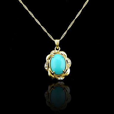 18K Real Gold Plated Blue Pendant Necklace