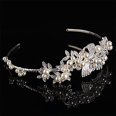 abordables Coiffes-Perle Argent sterling Strass Bandeaux 1 Mariage Casque