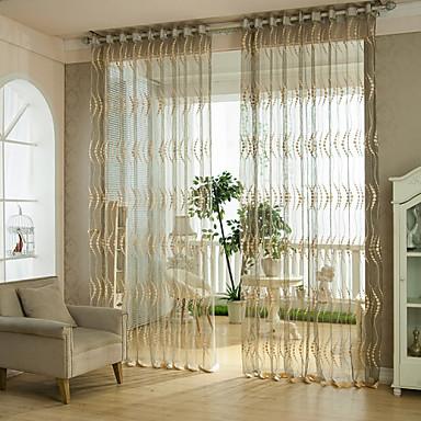 zwei Panele Rustikal / Modern / Neoklassisch / Mediterran / Rokoko / Barock / Europäisch / Designer Streifen Braun Wohnzimmer Polyester